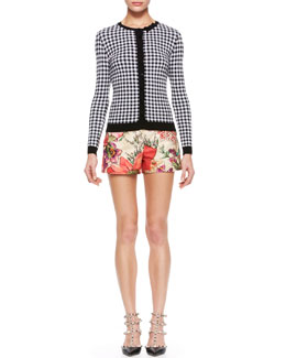 RED Valentino Gingham Knit Cardigan & Flower-Print Shorts
