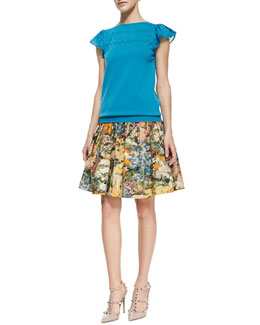 RED Valentino Knit Flutter-Sleeve Top & Pleated Wildflower Skirt