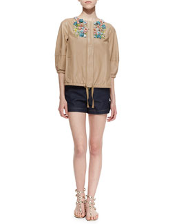 RED Valentino Shiny Napa Leather Jacket with Flower Appliques & Bow-Tied Denim Shorts
