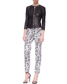 Versace Collection Cutout Zip-Front Leather Jacket & Zebra-Print Jacquard Pants