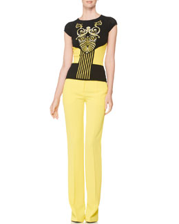 Versace Collection Intarsia-Knit Cap-Sleeve Top & Boot-Cut Slacks