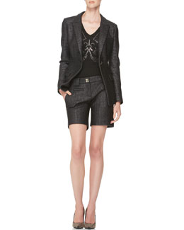 Versace Collection Raffia One-Button Jacket, Shorts & Shimmery Printed Tee