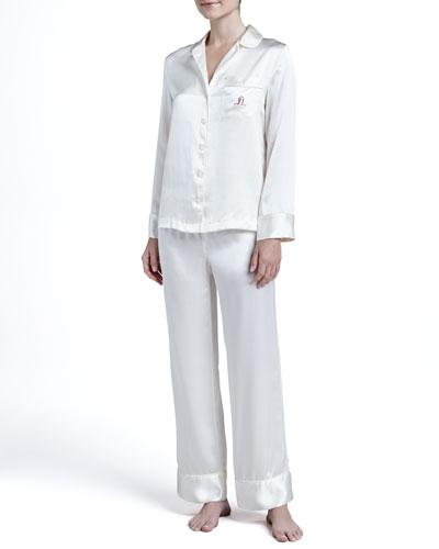 Neiman Marcus Solid Silk Satin PJ Set & Monogrammed Silk Pajamas, Ivory