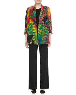 Caroline Rose Living Color Soft Lace Jacket, Long Tank & Stretch-Knit Slim Pants