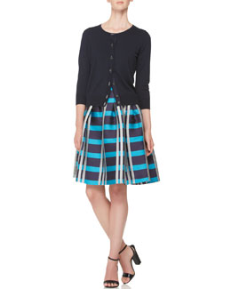 Piazza Sempione Short Cardigan, Short-Sleeve Knit T-Shirt & Macro Check Madras Skirt