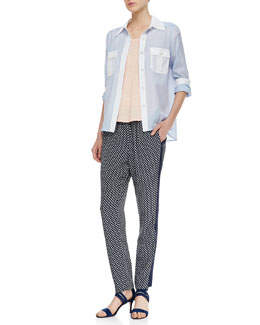 MARC by Marc Jacobs Dalia Two-Tone Dobby Blouse, Carmen Cap-Sleeve Slub Tee & Juna Printed Side-Stripe Pants