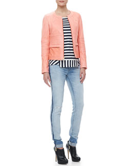 MARC by Marc Jacobs Darcey Trapunto-Stitched Leather Jacket, Yuni Striped Ponte Top & Cloud-Pattern Cuffed Jeans