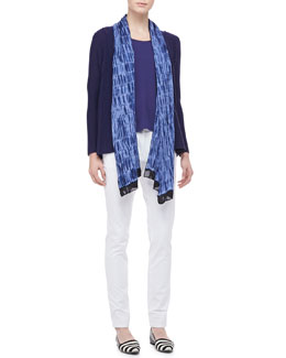 Eileen Fisher Washable Polished Wool Cardigan, Silk Jersey Tank, Silk Shibori Wave Scarf & Organic Cotton Skinny Jeans