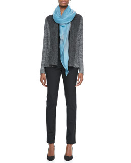 Eileen Fisher Plied Up Linen Cardigan, Silk Jersey Tank, Ombre Wool Scarf & Skinny Jeans
