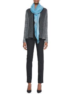 Eileen Fisher Plied Up Linen Cardigan, Silk Jersey Tank, Ombre Wool Scarf & Skinny Jeans, Petite