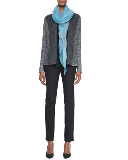 Eileen Fisher Plied Up Linen Cardigan, Silk Jersey Tank, Ombre Wool Scarf & Skinny Jeans, Women's