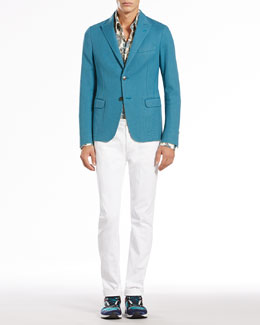 Gucci Two-Button Notch-Lapel Jacket, Macro-Paisley-Print Shirt & Skinny Denim Pants