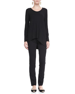 Eileen Fisher Soft V-Neck Shaped Top & French Terry Skinny Pants