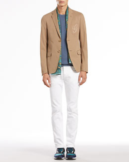 Gucci Cotton-Gabardine Two-Button Jacket, Intarsia-Knit Short-Sleeve Shirt & Skinny Denim Pants