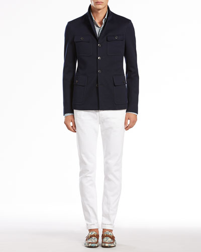 Gucci Jersey Military Jacket, Dentelle-Print Slim-Fit Shirt & Skinny Denim Pants