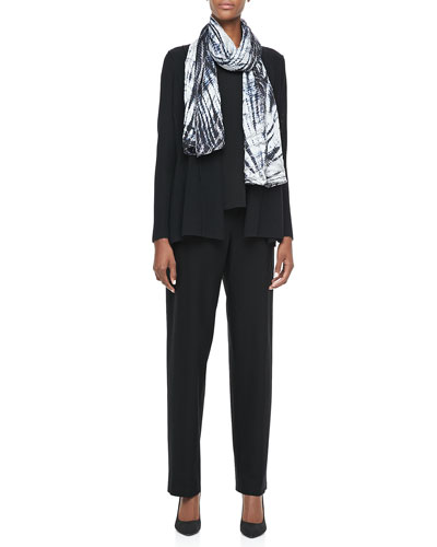 Eileen Fisher Washable Polished Wool Cardigan, Cap-Sleeve Tee, Shibori Silk Scarf & Straight-Leg Pants