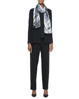 Eileen Fisher Washable Polished Wool Cardigan, Cap-Sleeve Tee, Shibori Silk Scarf & Straight-Leg Pants, Petite