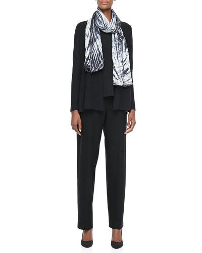 Eileen Fisher Washable Polished Wool Cardigan, Cap-Sleeve Tee, Shibori Silk Scarf & Straight-Leg Pants, Petite