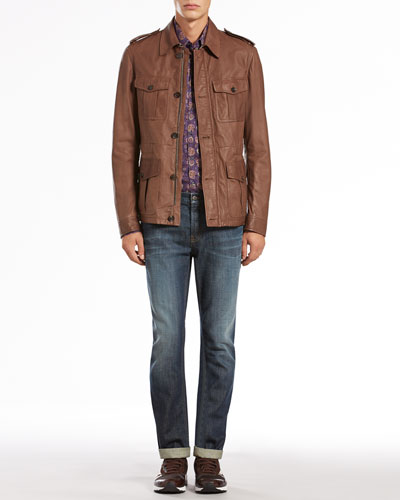 Gucci Leather Safari Jacket, Paisley-Print Long-Sleeve Shirt & Stone Washed Skinny Jeans