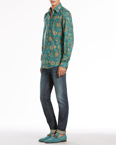 Gucci Paisley-Print Long-Sleeve Shirt & Stone Washed Skinny Jeans