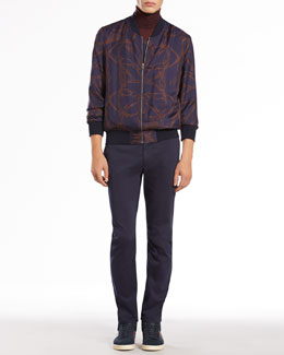 Gucci Horse-Print Silk Bomber Jacket, Cashmere Turtleneck Sweater & Stretch-Cotton Cycler Pants