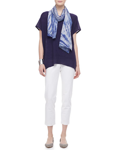 Eileen Fisher Shadow Striped Poncho Top, Silk Tank, Silk Scarf & Slim Ankle Pants