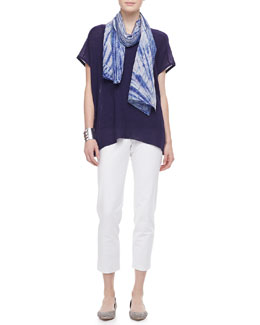 Eileen Fisher Shadow Striped Poncho Top, Silk Tank, Silk Scarf & Slim Ankle Pants, Petite