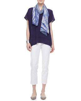 Eileen Fisher Shadow Striped Poncho Top, Silk Tank, Silk Scarf & Slim Ankle Pants, Women's