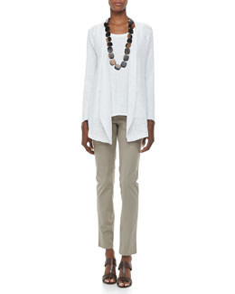 Eileen Fisher Textured Striped Long Cardigan, Jersey Scoop-Neck Tank & Organic Cotton Skinny Jeans