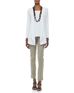 Eileen Fisher Textured Striped Long Cardigan, Jersey Scoop-Neck Tank & Organic Cotton Skinny Jeans, Petite
