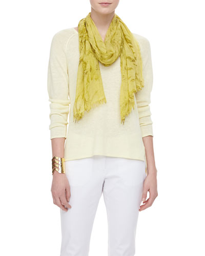 Eileen Fisher Lightweight Linen V-Neck Top & Shadow-Tinted Modal Scarf
