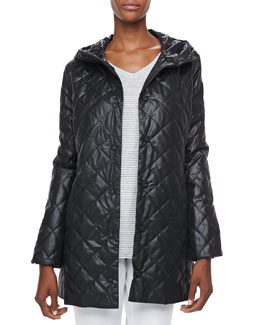 Eileen Fisher Quilted Hooded Puffer Jacket & Striped High-Low Top