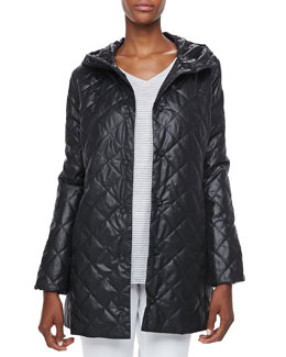 Eileen Fisher Quilted Hooded Puffer Jacket & Striped High-Low Top, Petite