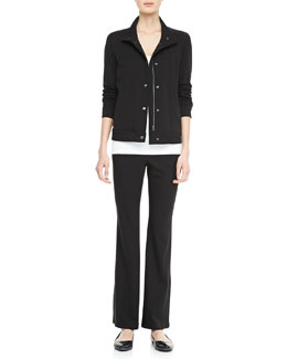 Eileen Fisher Jersey Zip-Front Jacket, Slim Tank & Jersey Yoga Pants, Women's
