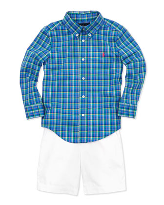 Plaid Long-Sleeve Blake Shirt & Preppy Cotton Shorts
