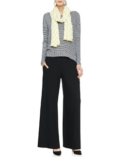 Eileen Fisher Jersey Long-Sleeve Tee, Striped Gauze Scarf & Wide-Leg Pants, Petite