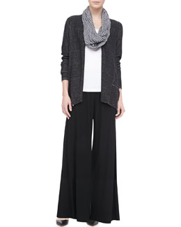 Eileen Fisher Plaited Angled Cotton-Lyocell Cardigan, Crinkled Ramie Zigzag Infinity Scarf, Organic Cotton Slim Tank & Washable Stretch Jersey Wide-Leg Pants, Women's