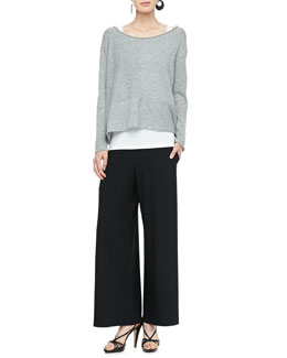 Eileen Fisher Speckled Box Knit Top, Slim Tank & Wide-Leg Pants