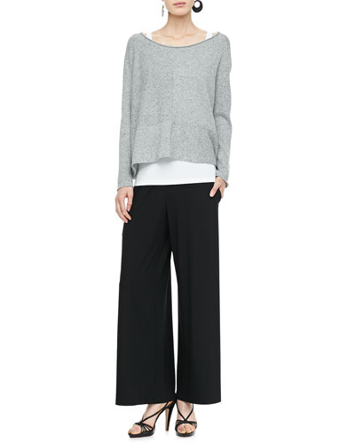 Eileen Fisher Speckled Box Knit Top, Slim Tank & Wide-Leg Pants, Petite