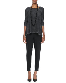 Eileen Fisher Plaited High-Low Tunic, Slim Tank & Slouchy Tapered Pants, Women's
