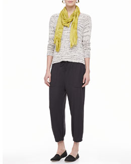 Eileen Fisher Blurred-Stripe V-Neck Sweater Top, Slim Tank, Modal Scarf & Drawstring-Waist Slouchy Capri Pants