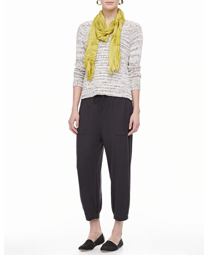 Eileen Fisher Blurred-Stripe V-Neck Sweater Top, Slim Tank, Modal Scarf & Drawstring-Waist Slouchy Capri Pants, Petite