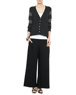 Eileen Fisher V-Neck Shaped Cardigan, Slim Tank & Wide-Leg Pants