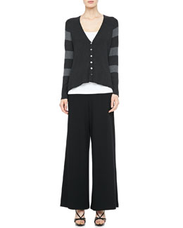 Eileen Fisher V-Neck Shaped Cardigan, Slim Tank & Wide-Leg Pants, Petite