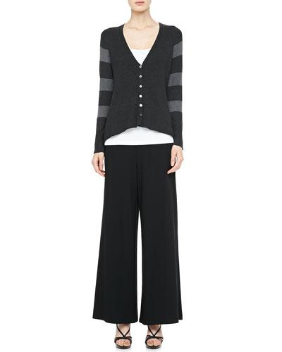 Eileen Fisher V-Neck Shaped Cardigan, Slim Tank & Wide-Leg Pants, Petite