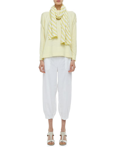 Eileen Fisher Organic Cotton Box Top, Striped Gauze Scarf & Slouchy Capri Pants