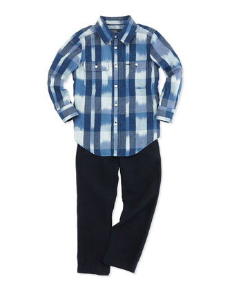 Long-Sleeve Matlock Shirt & Suffield Linen Pants, Sizes 4-7