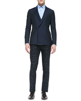 Lanvin Wool/Mohair Double-Breasted Jacket, Solid Woven Poplin Shirt & Jacquard Slim Trousers