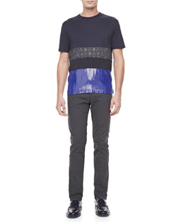 Lanvin Mixed-Media Short Sleeve Tee & Textured Stretch Jeans