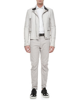 Lanvin Leather Moto Jacket, Slim-Cut Woven Dress Shirt & Textured Biker Pants